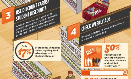 Budget Grocery Shopping for College Students Infographic