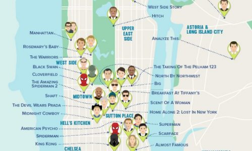 A map of movie locations that were filmed in New York.