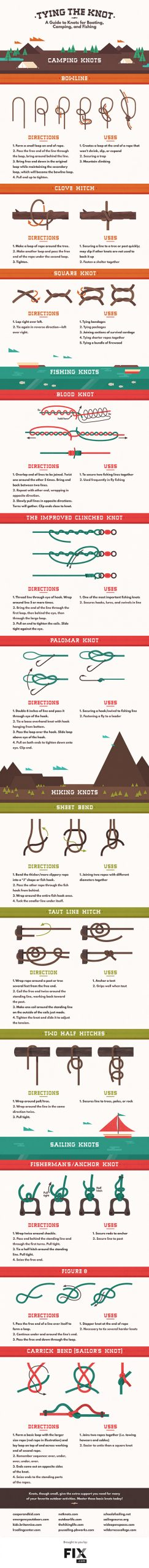 a step by step guide on how to tie different kinds of knots