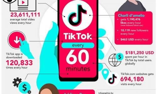 What happens on TikTok every 60 minutes infographics