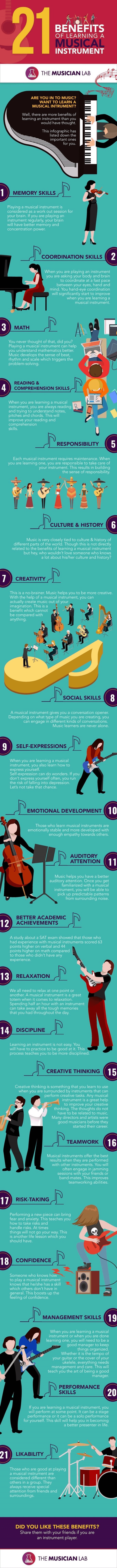 21 Benefits of leaning a musical instrument
